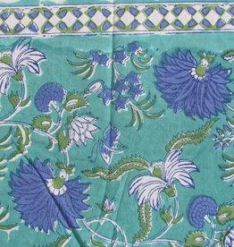 Beddensprei turkoois fantasy bloemen