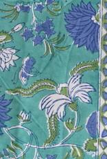 Beddensprei turkoois fantasy bloemen hand bedrukt
