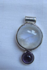 Pendant Zilver met regenboog maansteen en amethist