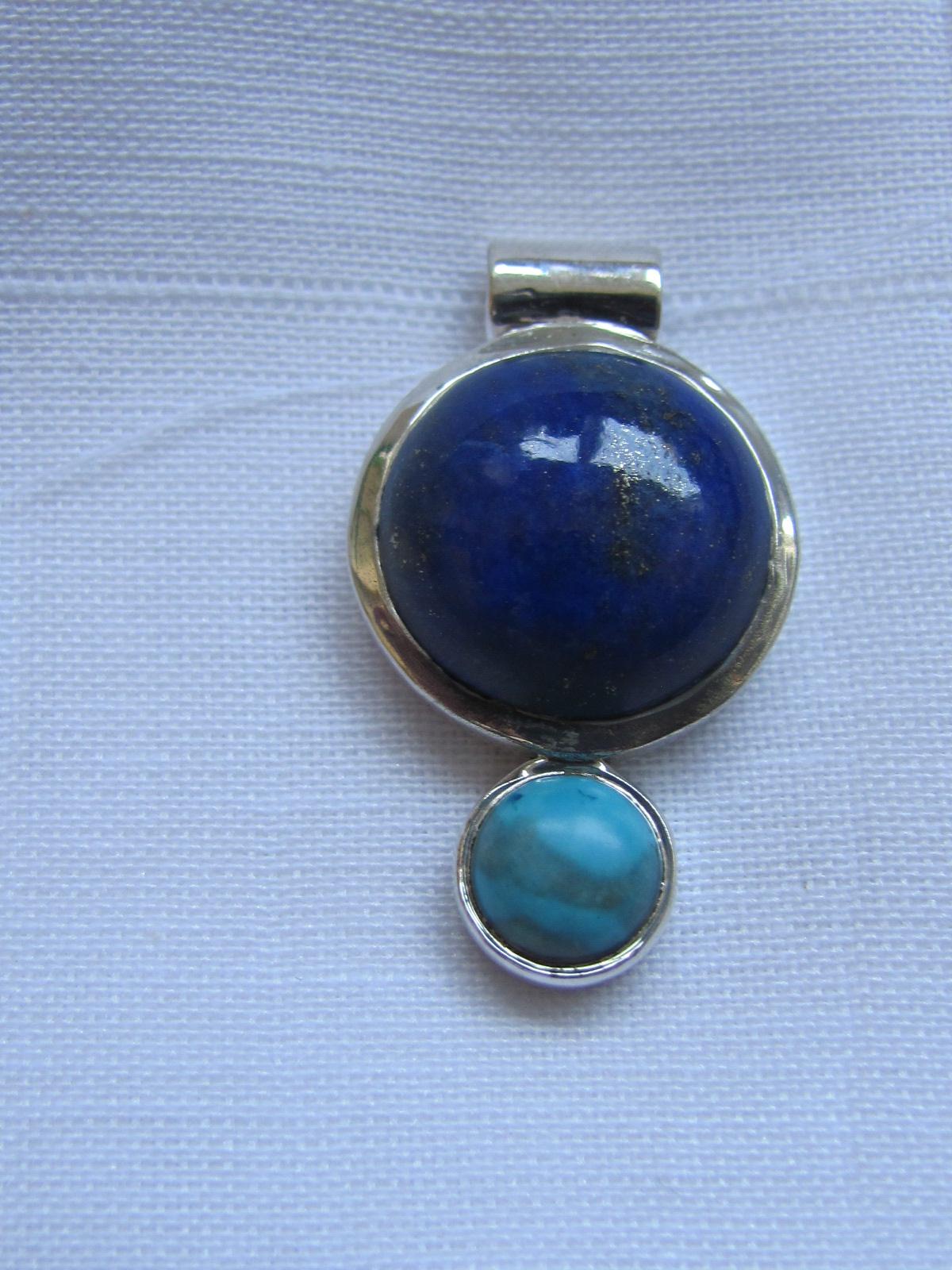 Hanger Zilver met lapis lazuli en turkoois