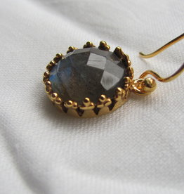 Earring gold on silver with labradorite