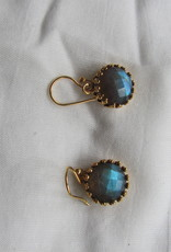 Earring gold silver with  faceted labradorite