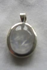 Pendant Silver with rainbow moonstone