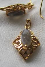 Oorbel goud  op zilver met labradoriet
