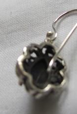 Oorbel zilver met  malachiet steen