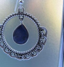 Oorbel zilver met   lapis lazuli