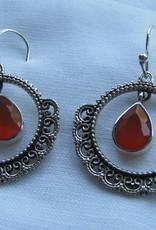 Earring silver with cornelian