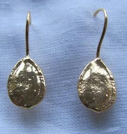 Oorbel goud  op zilver