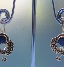 Earring  gold plating on silver with   lapis lazuli