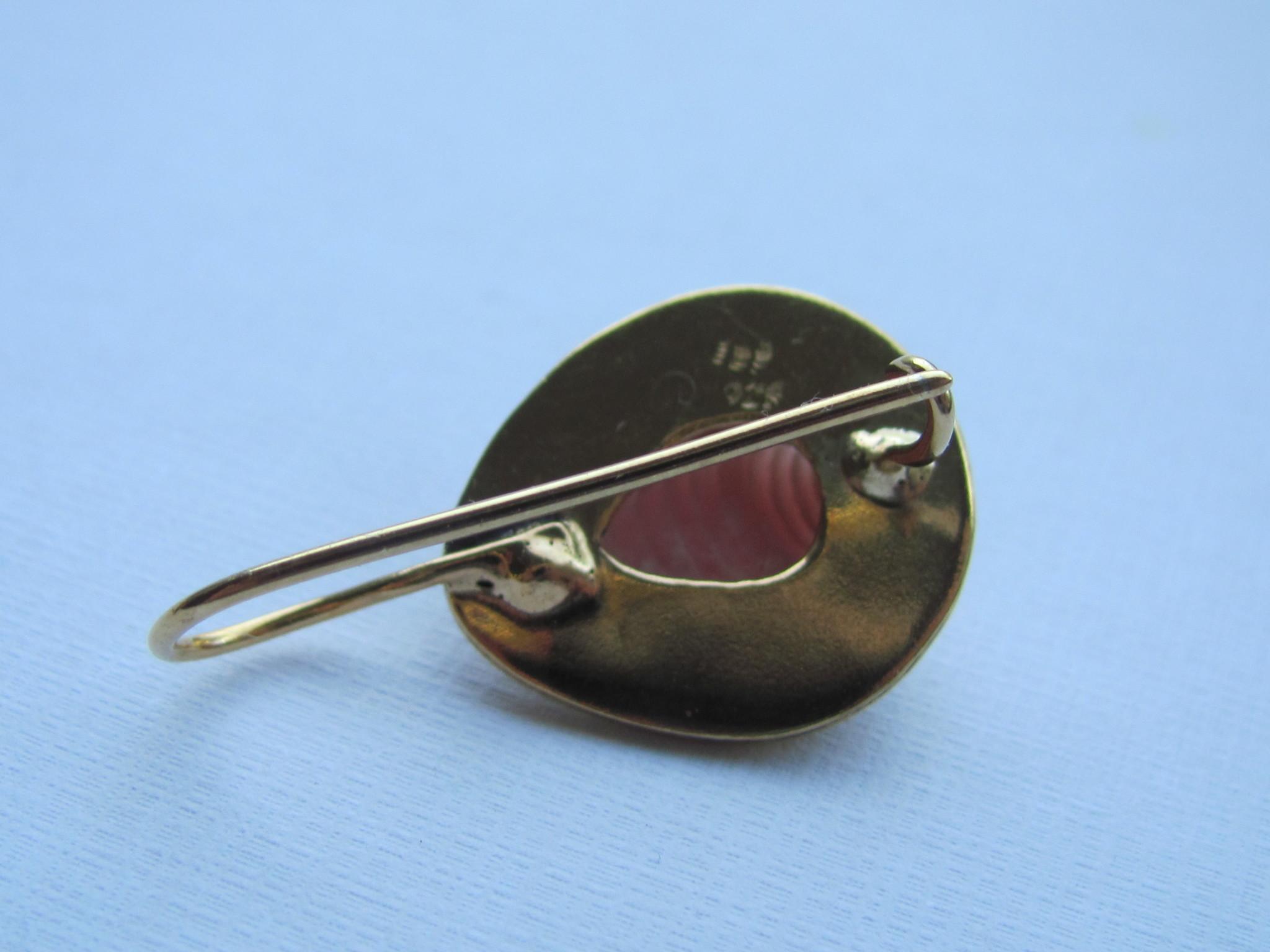 Oorbel gold on zilver rhodochrosiet dormeuse model