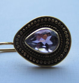 Earring gold on silver with amethyst