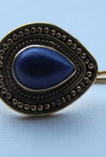 Earring gold on silver  lapis lazuli dormeuse model