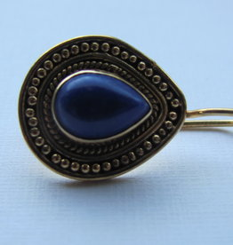 Earring gold on silver with  lapis lazuli