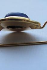 Oorbel gold on zilver  lapis lazuli  dormeuse mode