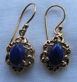 Earring gold on silver with  lapis lazuli stone