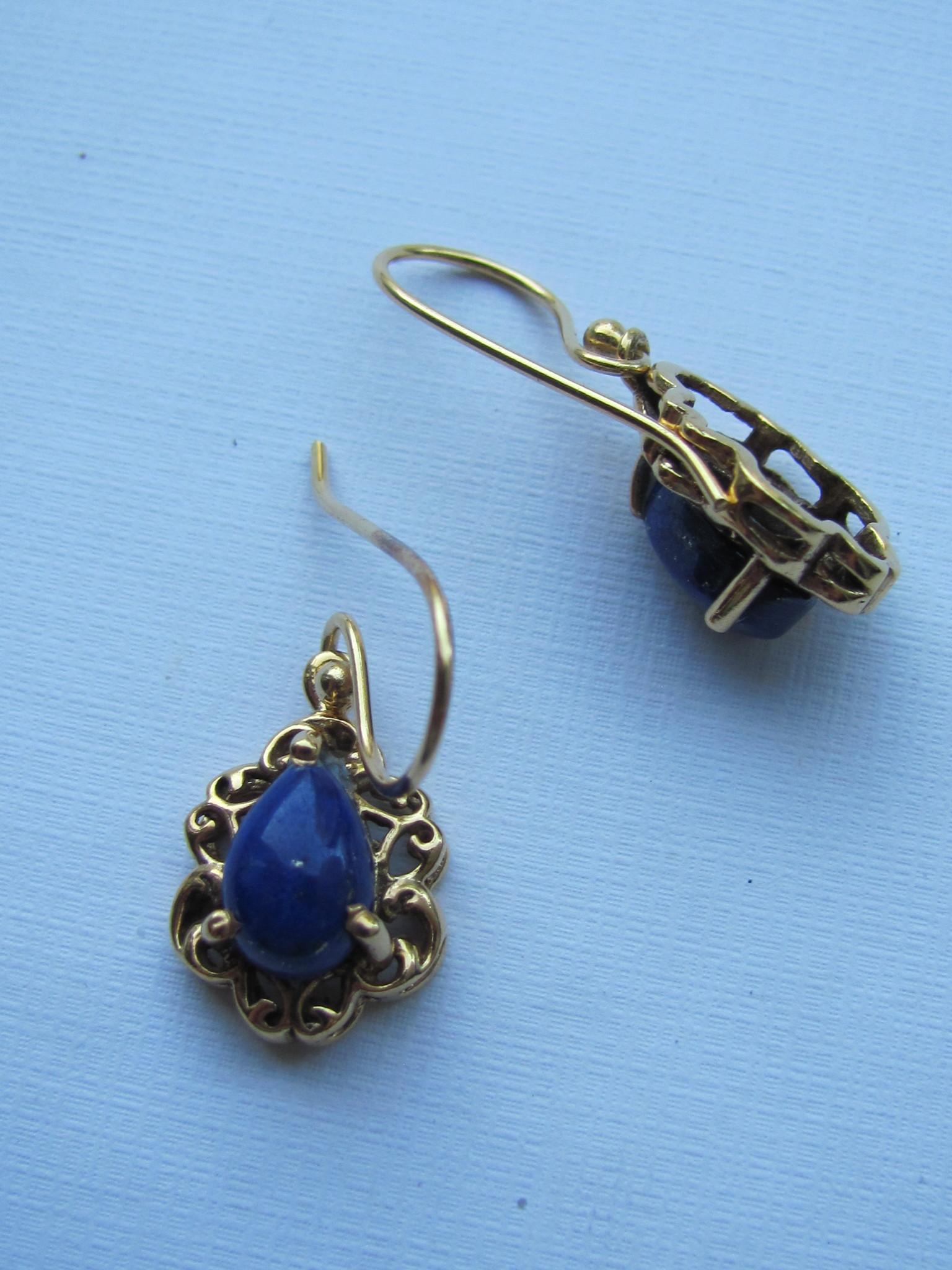 Oorbel goud op zilver met   lapis lazuli steen