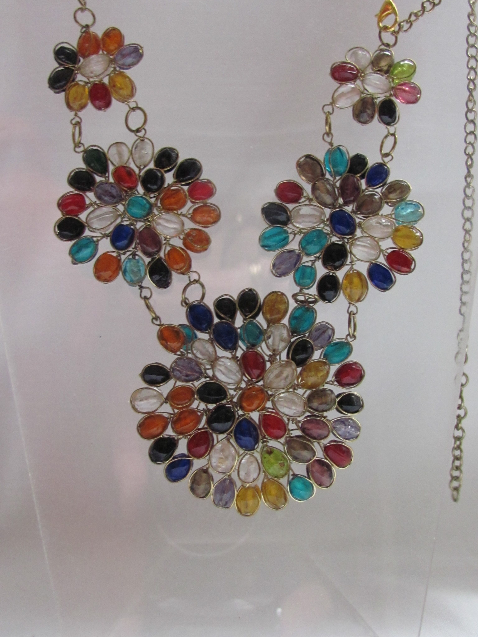 Necklace from glass and braas multi colour