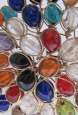 Ketting van messing en glas multi kleur