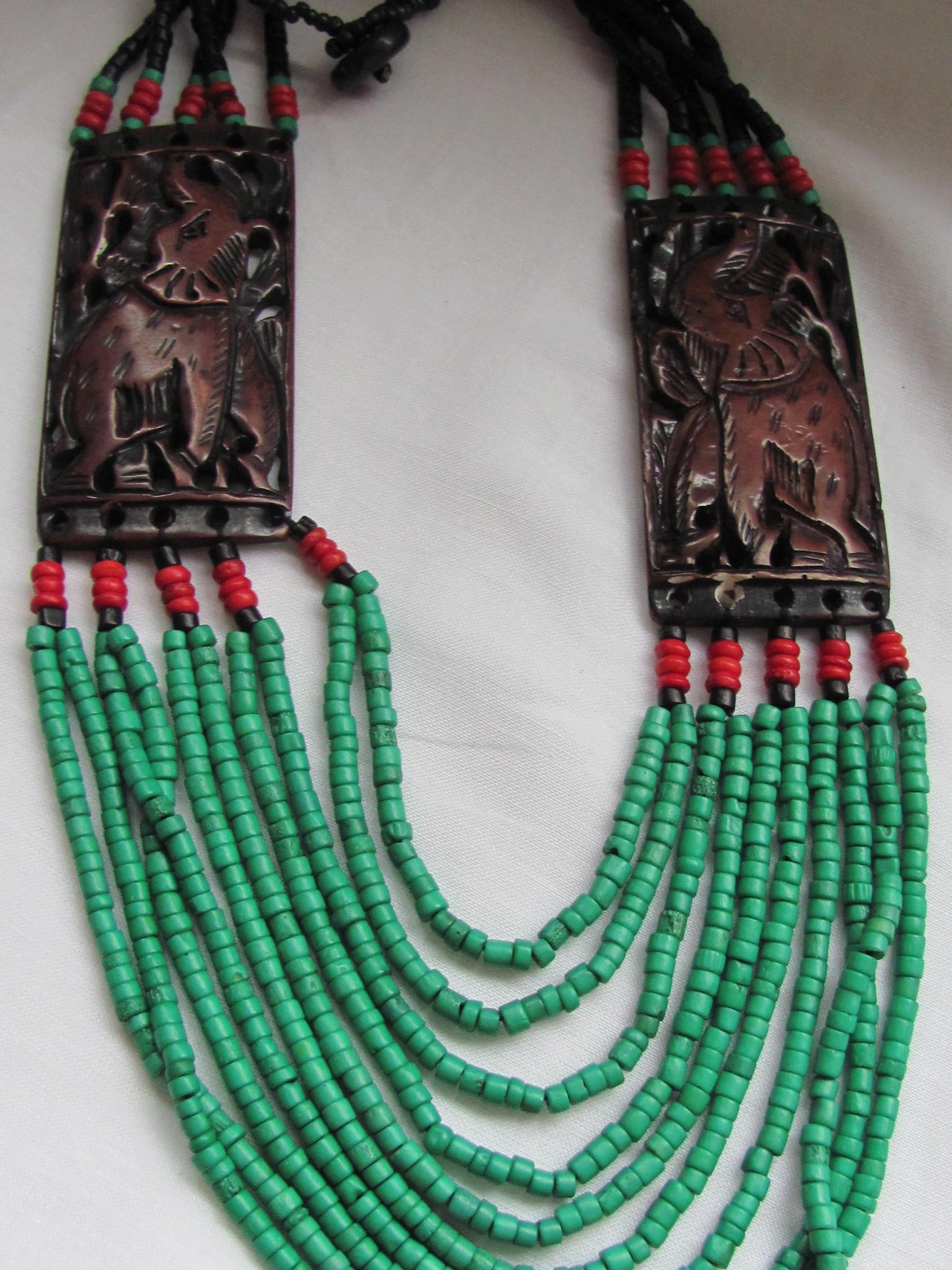 Necklace carved bone