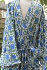 Kimono, dressing gown, home wear hand printed with vegetable dyes