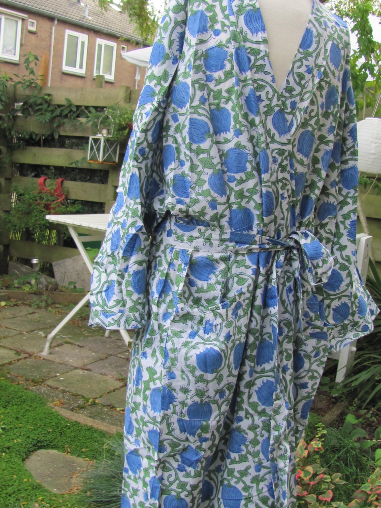 Kimono, ochtendjas, huis kleding, handbedrukt met vegetable kleurstoffen