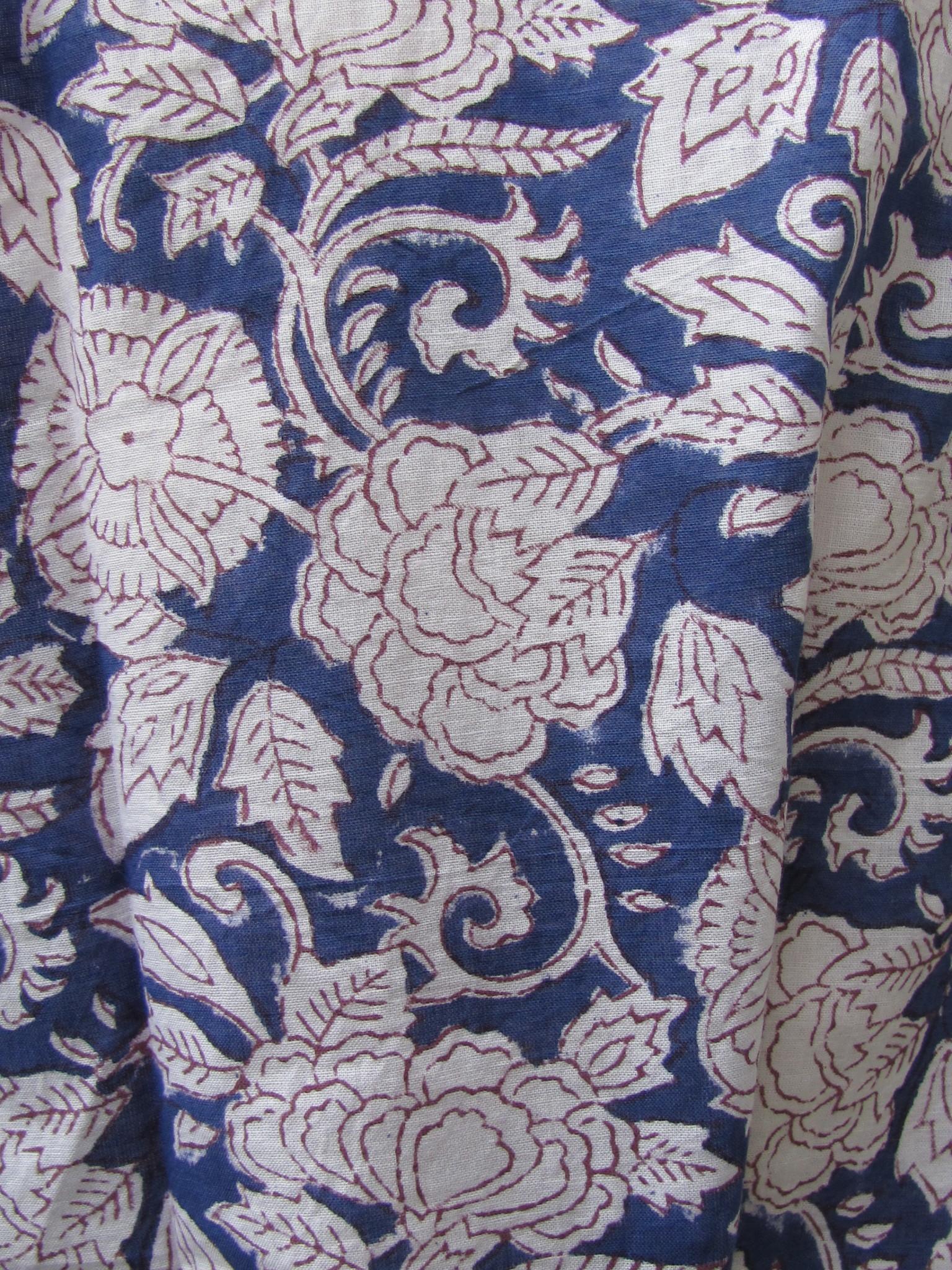 Kimono, ochtendjas, lounge kleding for thuis  handbedrukt met vegetable kleurstoffen.100% katoen