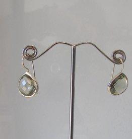 Oorbel zilver groen amethist