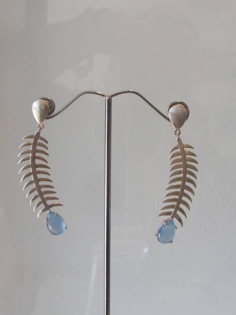 Oorbel zilver calceadon