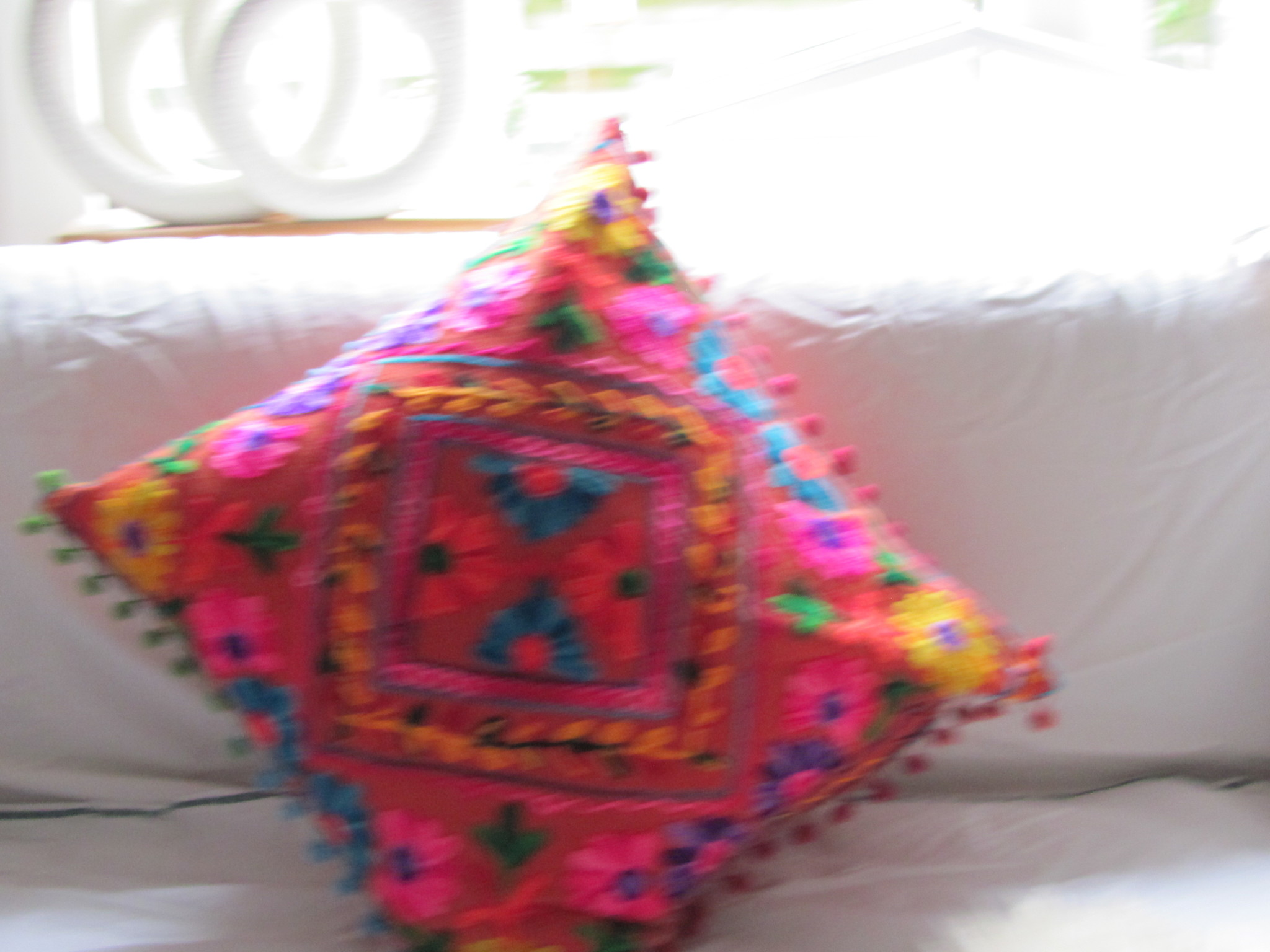 cushion cover susani embroiderd in Uzbeki style  brickred ground