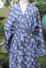 Kimono, ochtendjas handbedrukt met vegetable kleurstoffen.100% katoen