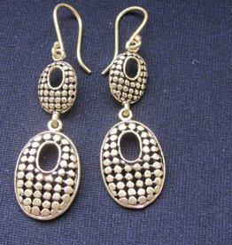 Earring brass oval latticework