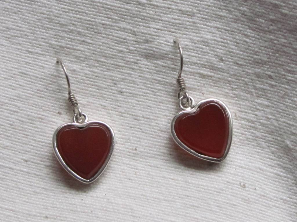 Oorbel zilver kornalijn  hart