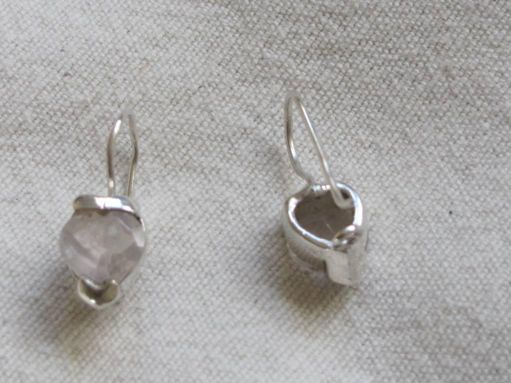 Oorbel zilver gefaceteerd berg crystal