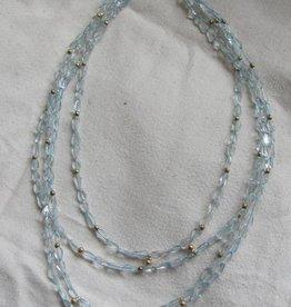 Halsketting aquamarine goud op zilver