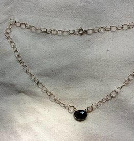 Halsketting zilver onyx