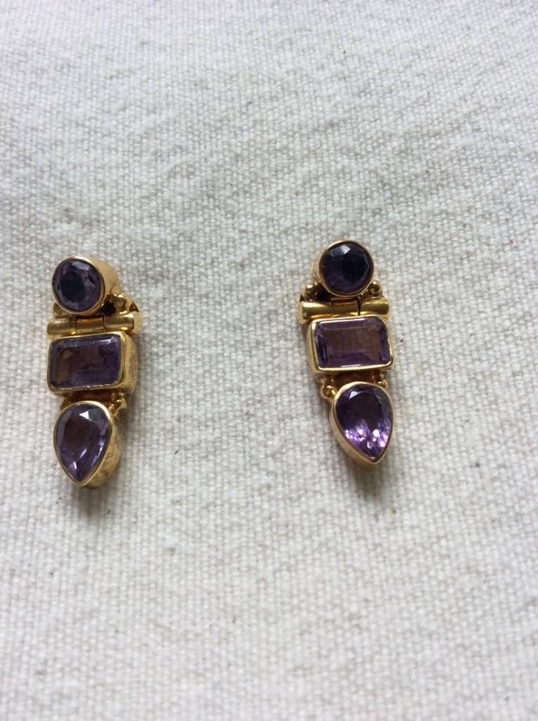 Earring goud on silver, amythists