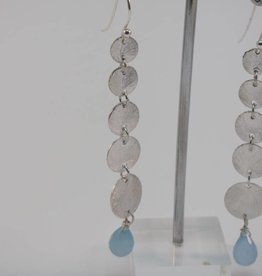 Earring silver with calceadone