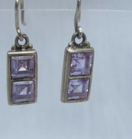 Earring silver with amethyst