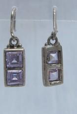 Oorbel zilver met amethist