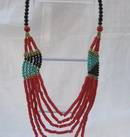 Necklace with coral coloured beads