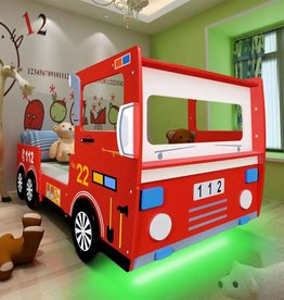 VidaXL Kinderbed brandweerwagen met LED-verlichting & matras 200x90 cm