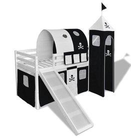 VidaXL Kinderhoogslaper met glijbaan en ladder wit hout zwart wit