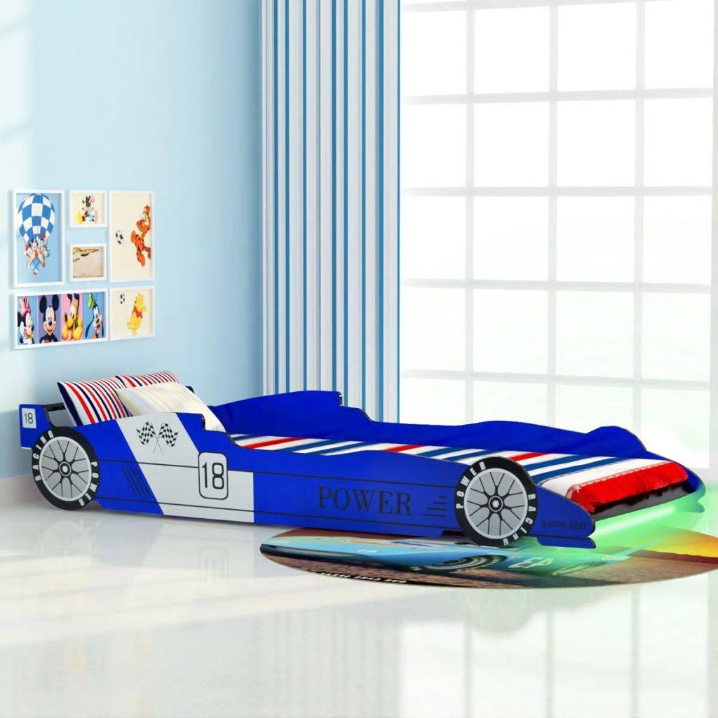 VidaXL Kinder raceauto bed met LED-verlichting 90x200 cm blauw - www ...