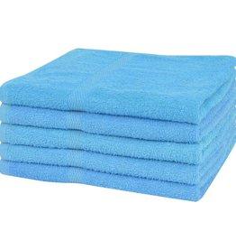VidaXL Handdoekenset 360 g/m² 50x100 cm katoen blauw 5-delig