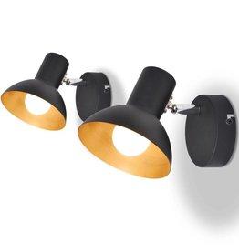 VidaXL Wandlampen voor 2 peertjes E27 zwart en goud 2 st