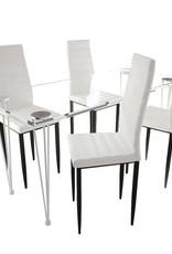 4 Witte Eetstoelen.Vidaxl Eetkamerset 4 Witte Slim Line Stoelen En 1 Glazen Tafel Www