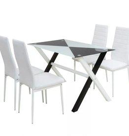 VidaXL Eetkamerset tafel en stoelen kunstleer 5-delig