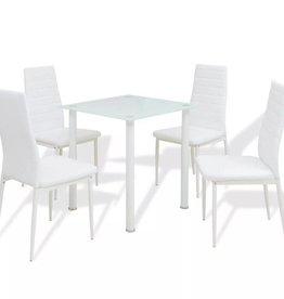 VidaXL Eettafel en stoelenset 5-delig wit