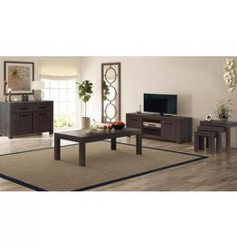 VidaXL Woonkamer meubelset rook-look massief acaciahout 6-delig