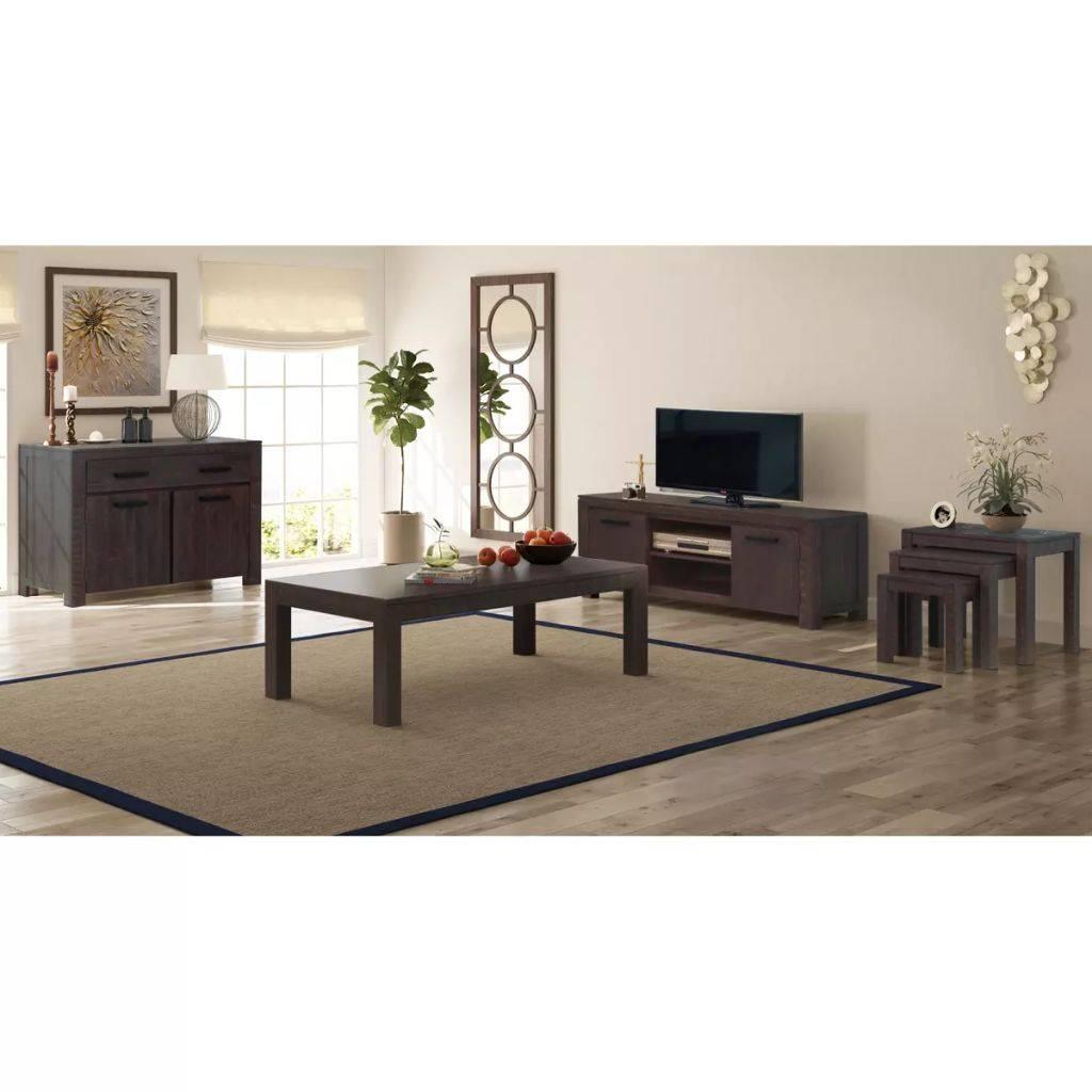 VidaXL Woonkamer meubelset rook-look massief acaciahout 6-delig ...